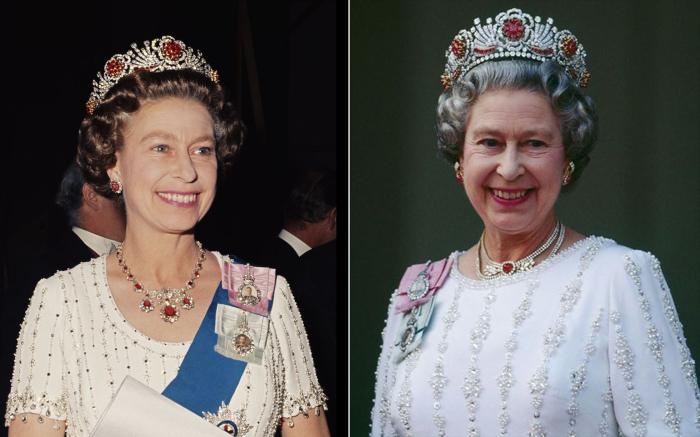 Королева Елизавета в рубиновой тиаре, 30 мая, 1977 год. | Спустя несколько лет.