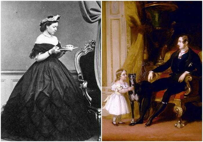 Слева: Вики. \ Справа: Маленькая Виктория вместе с отцом принцем Альбертом. \ Фото: pinterest.com.