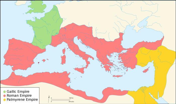 Раскол Римской империи в 271 году, когда Аврелиан пришёл к власти. \ Фото: sw.maps-greece.com.