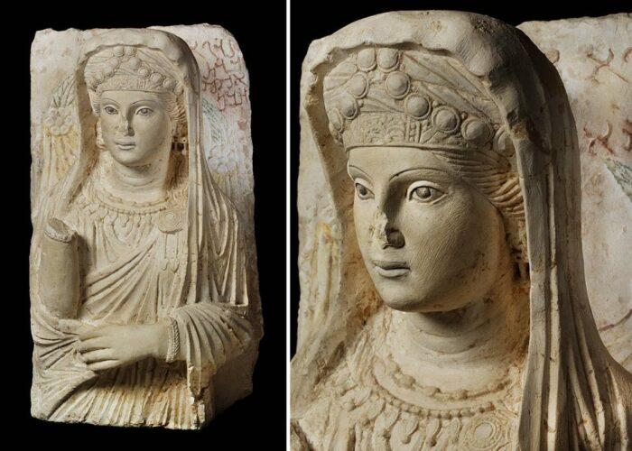 Известняковый бюст женщины с Пальмирского погребального рельефа, 150-200 гг. н. э. \ Фото: yandex.ua.