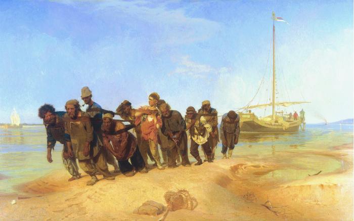 Бурлаки на Волге (1873 год) - Илья Репин.