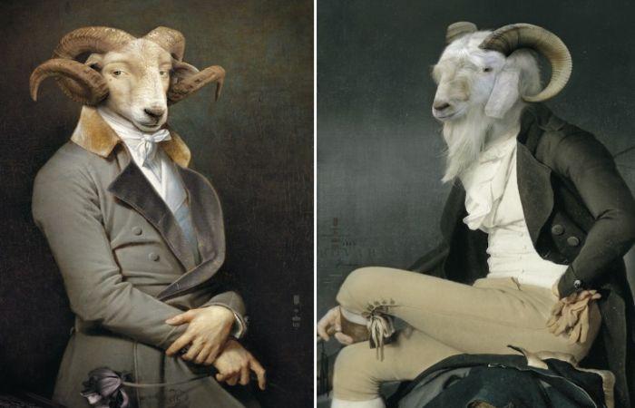 Животные в исторических костюмах. Автор: Rachel and Benoit Convers.