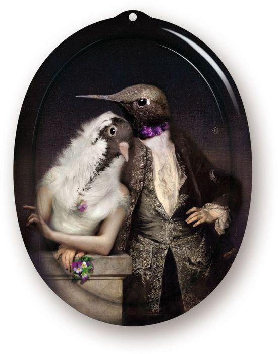 Поднос: Влюблённые птицы. Автор: Rachel and Benoit Convers.