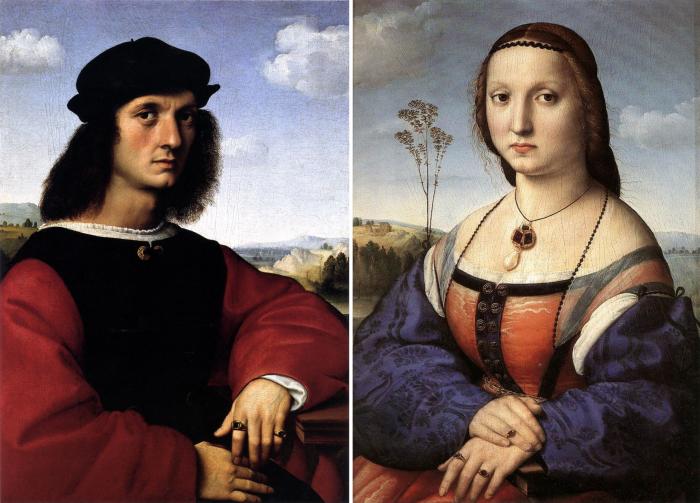 Портреты Аньоло Дони и Маддалены Строцци. Автор: Рафаэль. \ Фото: pinterest.com.