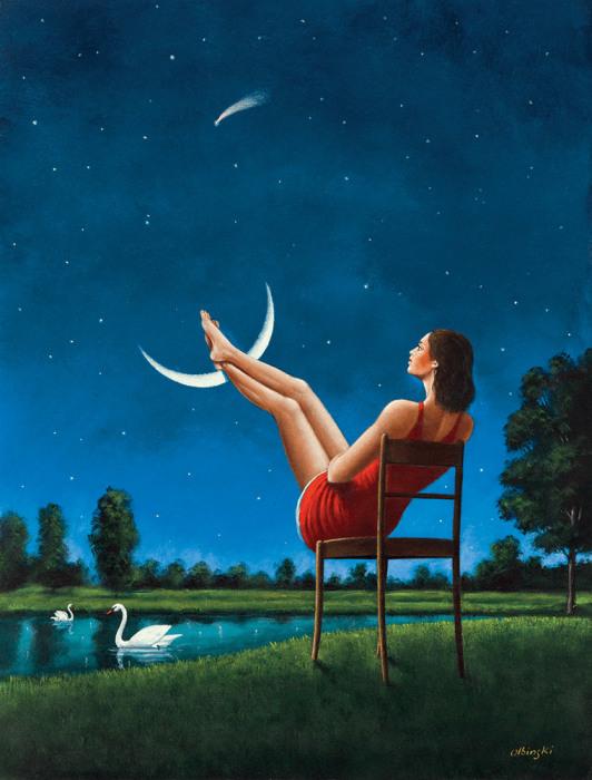 Лунная романтика. Автор: Rafal Olbinski.