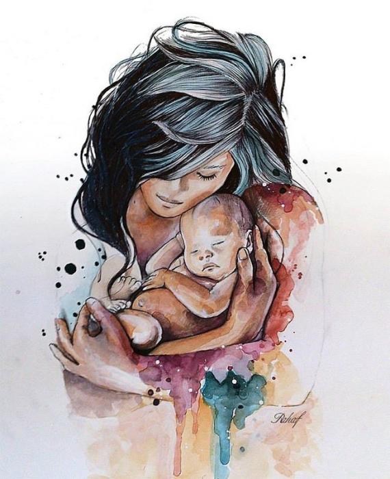 Материнская любовь и забота. Автор: Rahaf Dk Albab.