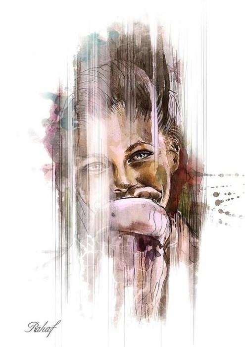 Сирийская художница рисует нежные акварельные портреты восточных красавиц