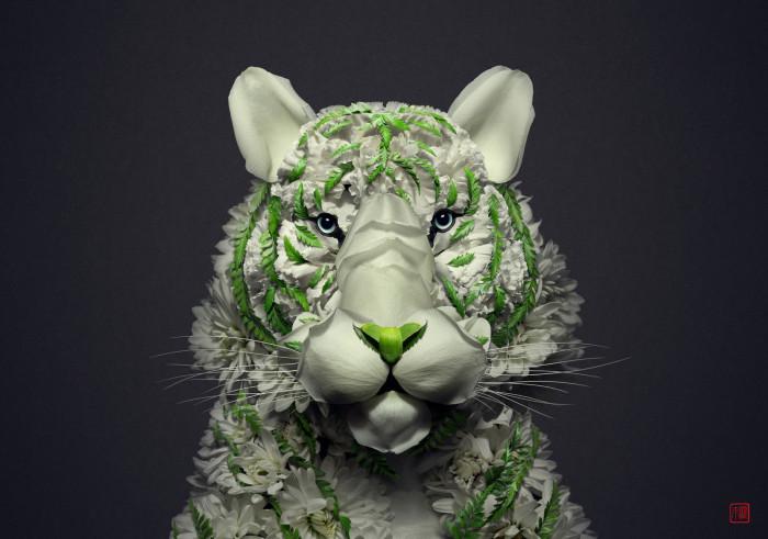 Белый тигр. Автор: Raku Inoue.