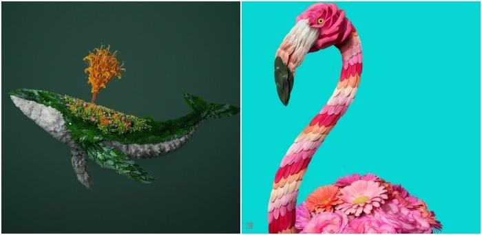 Кит и розовый фламинго. Автор: Raku Inoue.