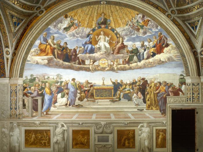 Диспута, фреска. Автор: Рафаэль. \ Фото: theculturetrip.com.