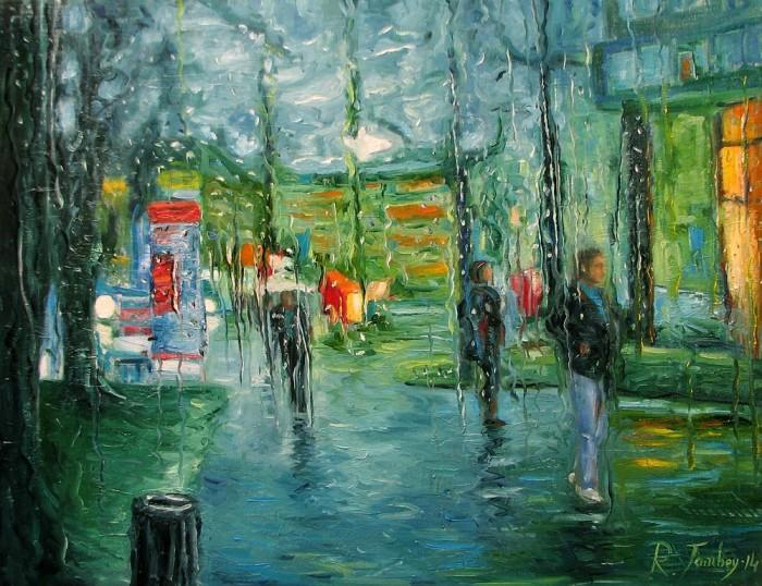 А дождь идёт.  Автор: Рауф Джанибеков.