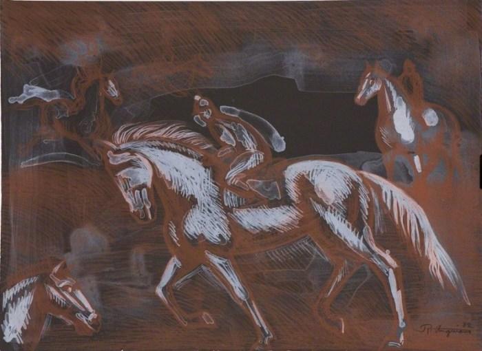 Ониксовые лошади, 1982 год. Автор: Raul Anguiano.