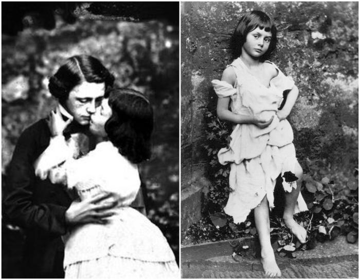 Фотография Льюиса Кэрролла, целующего Алису Лидделл (слева). \ И провокационная фотография Алисы в костюме нищей горничной (справа).