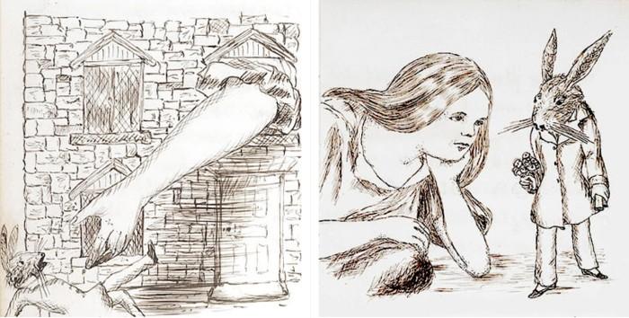 Иллюстрации из книги про Алису в Стране чудес.