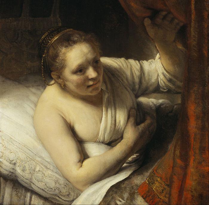Женщина в постели, Рембрандт. / Фото: google.com.