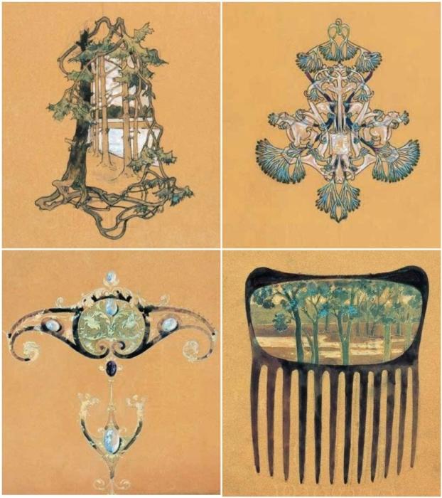 Рене Лалик: Эскизы для украшений, 1894—1896 гг. \ Фото: pinterest.com.