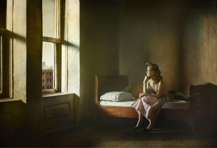 Мужчина и женщина на кровати. Автор: Richard Tuschman.