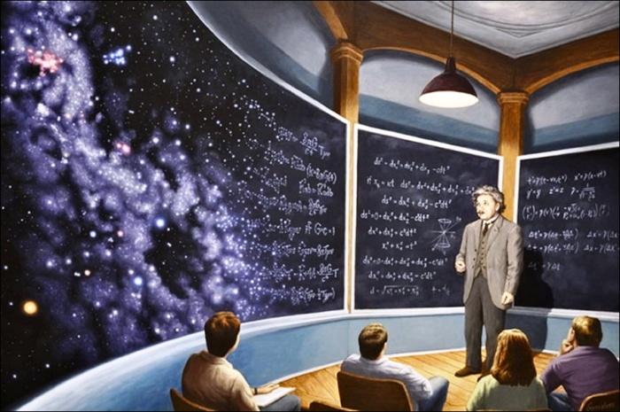 Вся Вселенная мелом на доске. Автор: Rob Gonsalves.