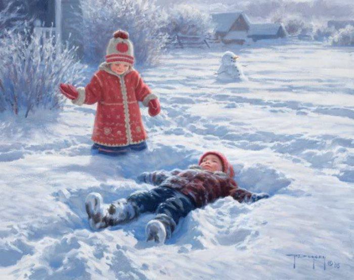 Ах, как же здорово лежать в снегу, раскинув руки. Автор: Robert Duncan.