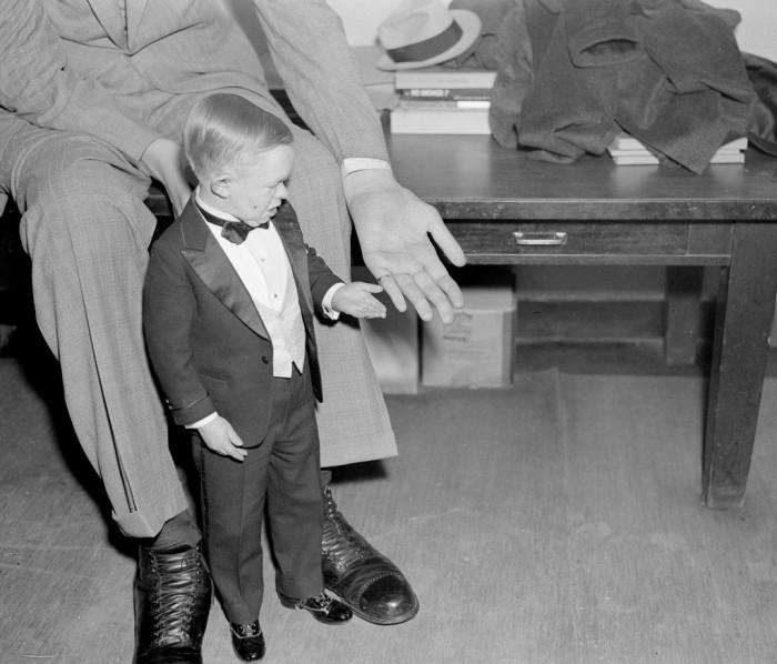 Карлик из цирка братьев Ринглинг сравнивает размер своей руки и Уодлоу, 1937 год.