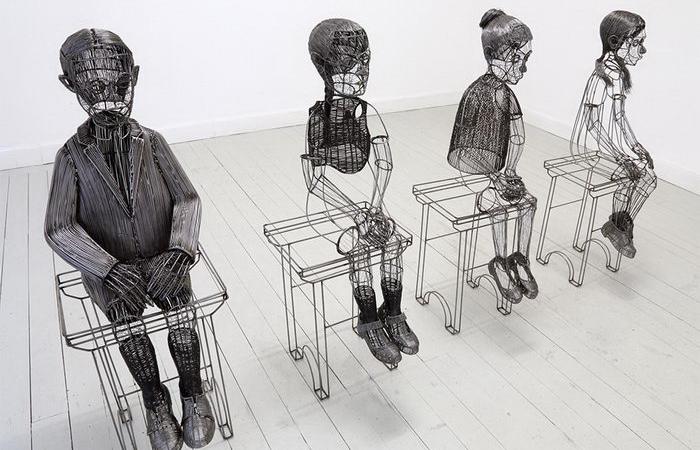 Проволочные скульптуры в натуральную величину. Автор: Roberto Fanari.