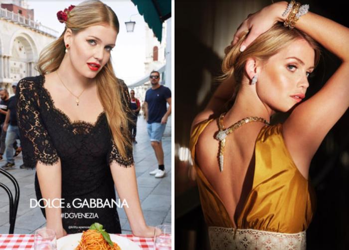 Китти Спенсер в кампании Dolce & Gabbana SS18. \ Фото: Рекламная кампания Bulgari с участием леди Китти Спенсер.