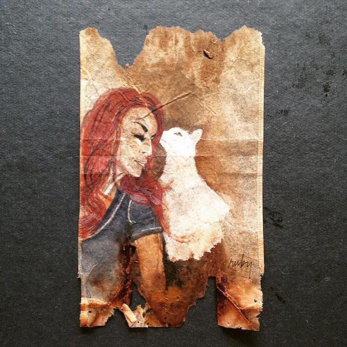 Девушка с кошкой. Автор: Ruby Silvious.
