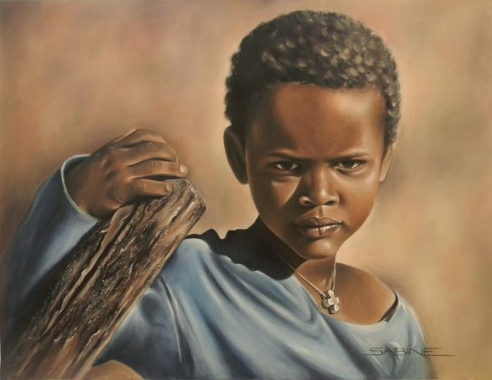 Африканский ребёнок. Художник: Сабина Барбэ (Sabine Barber).