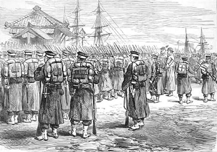 Императорские войска отправляются в Иокогаму для борьбы с восстанием Сацума в 1877 году. \ Фото: ifuun.com.
