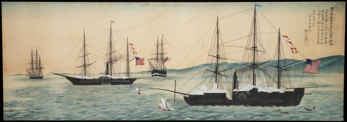 Ост-Индская эскадра США в Токийском заливе. \ Фото: commons.wikimedia.org.