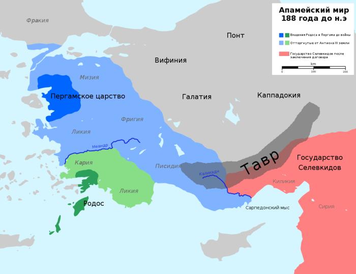 Карта Малой Азии после Апамейского договора 188 г. до н. э. \ Фото: hy.wikipedia.org.