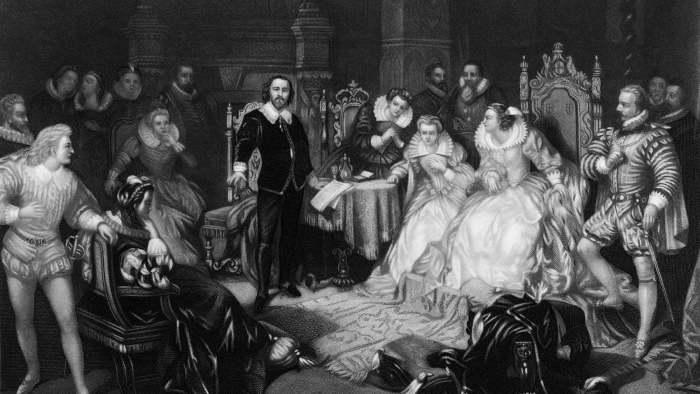 Шекспир декламирует произведение перед двором Елизаветы I. \ Фото: rep.repubblica.it.