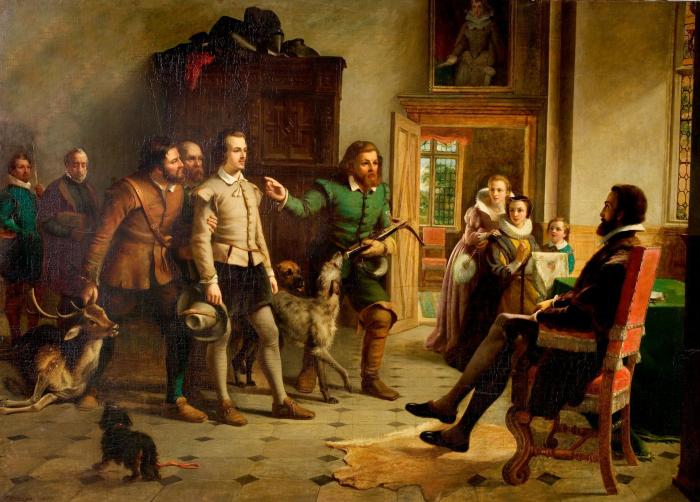Шекспир перед сэром Томасом Люси в Чарлкот-холле. \ Холст, масло, Томас Брукс, 1857 год. \ Фото: rsc.org.uk.