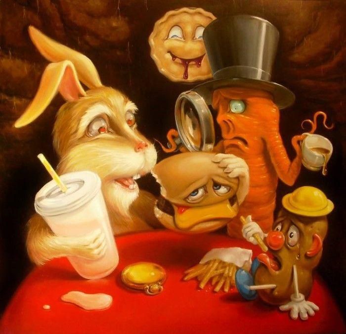 Дружеский вечер: Генетически модифицированная морковь и кролик. Автор: Stephen Gibb.