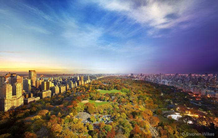 Вид на Центральный парк из Эссекс-Хаус, Нью-Йорк. Автор работ: Стефан Вилкс (Stephen Wilkes).