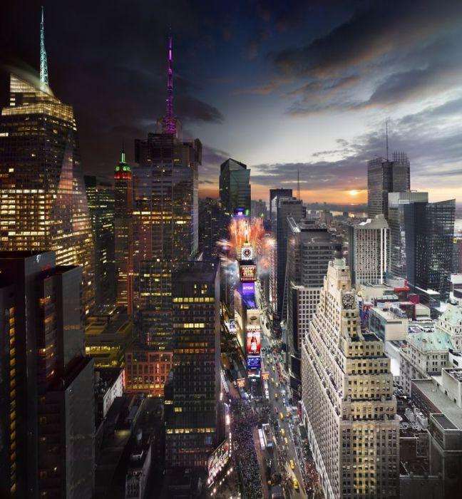 ПлощадьТаймс-Сквер в Канун Нового Года. Автор работ: Стефан Вилкс (Stephen Wilkes).