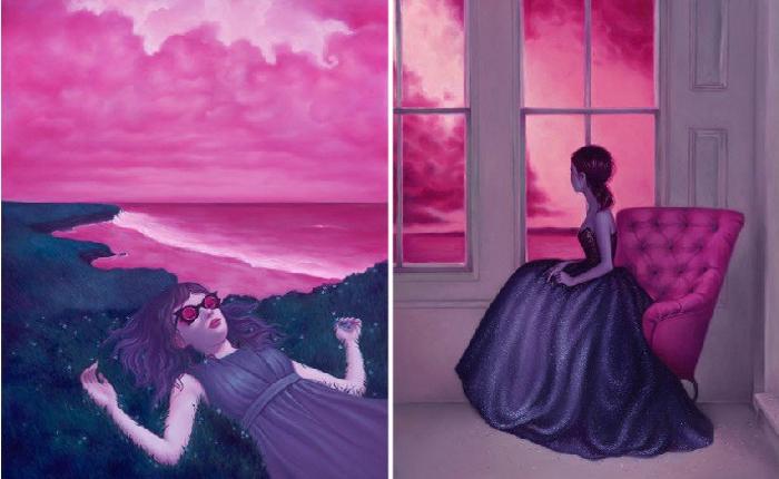 Потусторонние миры на картинах в пастельно-конфетных тонах с таинственными сюжетами