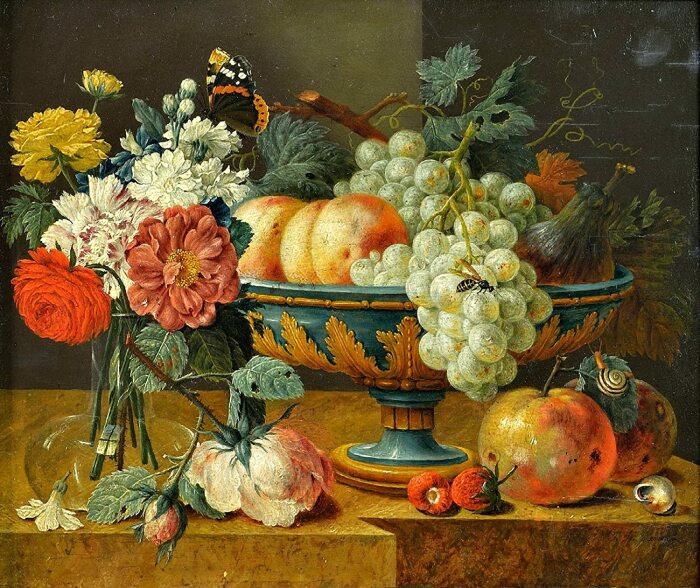 Ваза с фруктами и цветами, Ян Давидс де Хем, первая половина XVII века.  Фото: amazon.com.