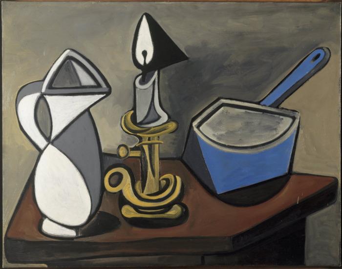Кувшин, свеча и эмалированная кастрюля, Пабло Пикассо. \ Фото: pinterest.es.