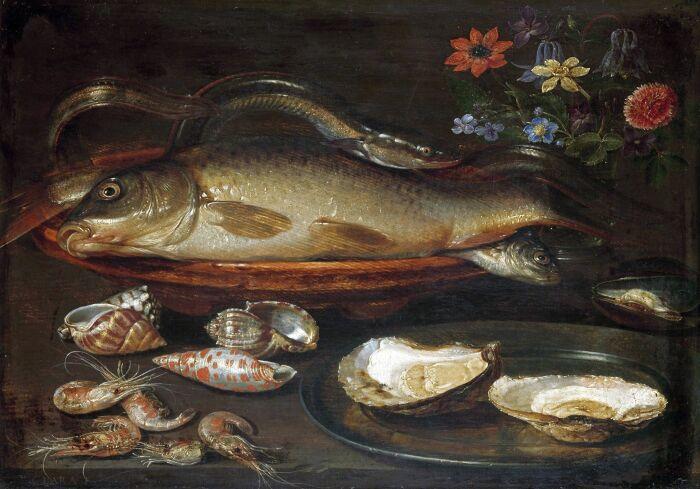 Натюрморт с рыбой, морепродуктами и цветами, Клара Питерс, 1612-15 гг. \ Фото: ada-skill-based.art.