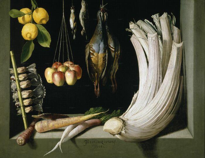 Натюрморт с дичью, овощами и фруктами, Хуан Санчес Котан, 1602 год. \ Фото: czt.b.la9.jp.