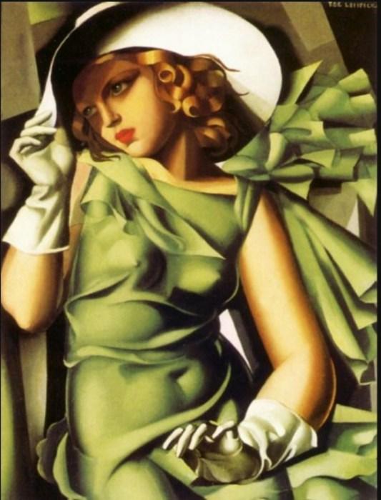 Девушка с перчатками, 1929 год. Автор: Тамара де Лемпицка (Tamara de Lempicka).