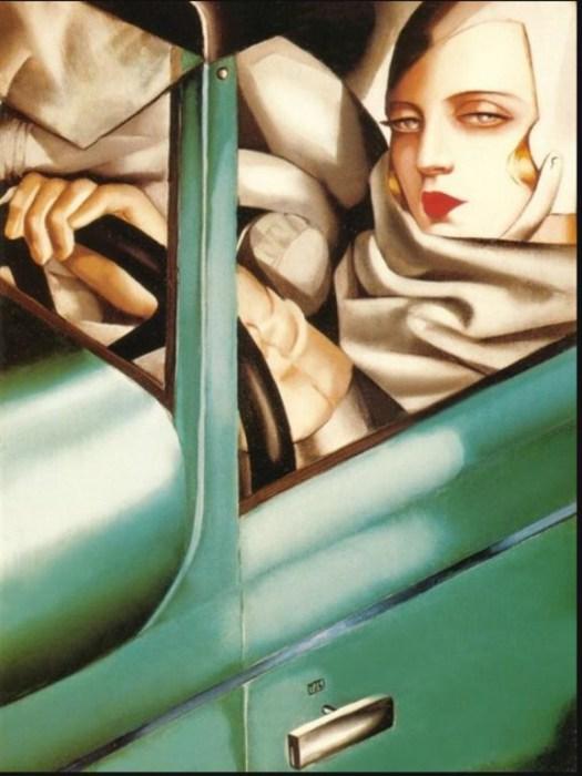 Автопортрет в зелёном бугатти, 1925 год. Автор: Тамара де Лемпицка (Tamara de Lempicka).