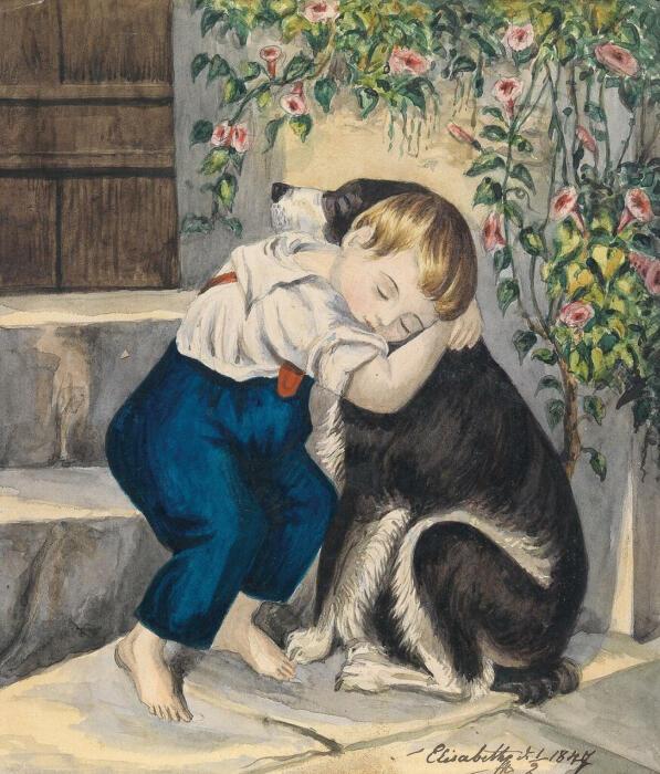 Личный рисунок юной принцессы. Изображение мальчика с собакой, подписано и датировано Елизаветой. \ Фото: ok.ru.