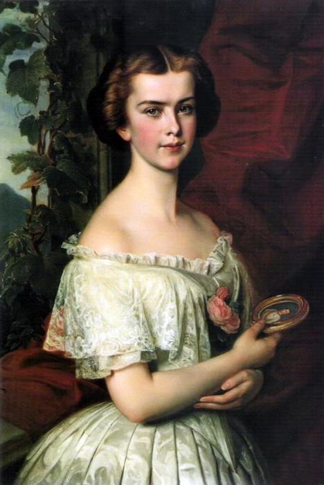 Принцесса  Елизавета Баварская с портретной миниатюрой Франца-Иосифа, 1855 год. \ Фото: liveinternet.ru.