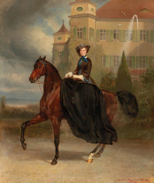 Императрица Елизавета Австрийская верхом на лошади в Поссенхофене. \ Фото: azra.ba.