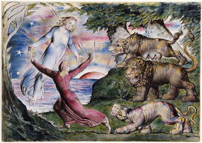 Данте бежит от трех зверей, иллюстрация к «Божественной комедии», Уильям Блейк. \ Фото: stereoklang.se.