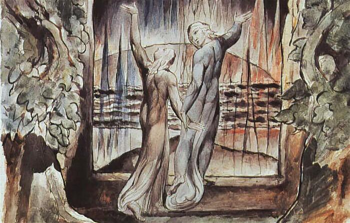 Данте и Вергилий у врат ада, иллюстрация к «Божественной комедии», Уильям Блейк. \ Фото: google.com.