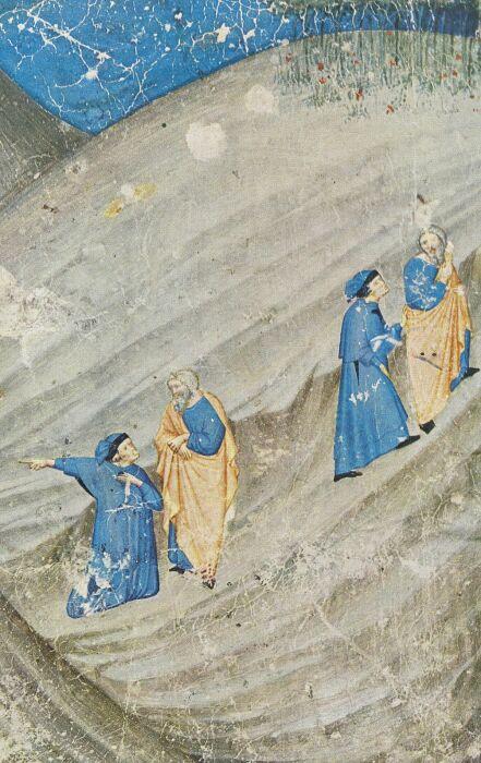 Встреча Данте с Вергилием и начало их странствия по загробному миру (средневековая миниатюра). \ Фото: twitter.com.