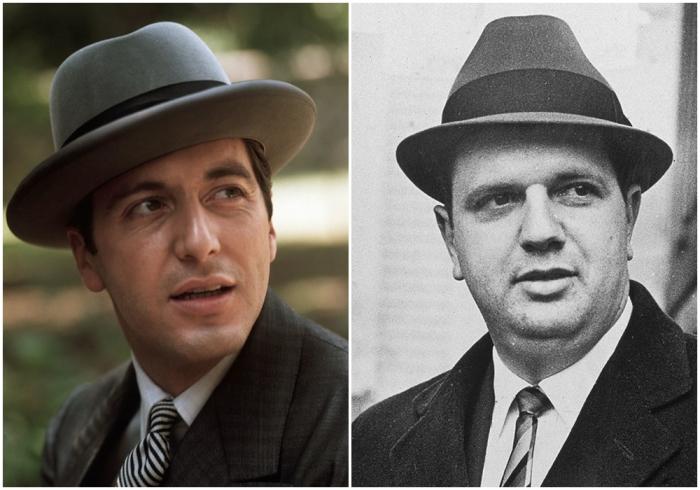Слева направо: Аль Пачино в роли Майкла Корлеоне и Сальваторе (Билл) Бонанно. \ Фото: nationalgeographic.grid.id.